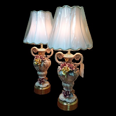 Pair of Capodimonte Lamps and Shades