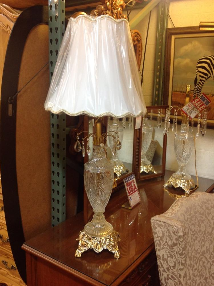 Pair of Crystal Lamps and Shades