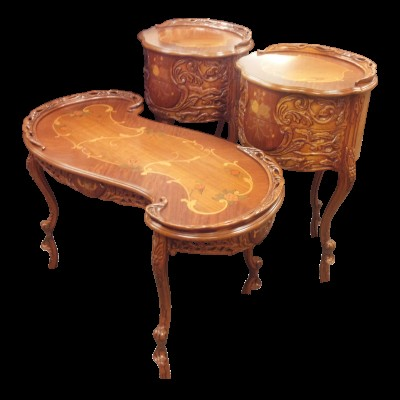 Carved Wood French Provincial 3 Piece Set of Tables - French Walnut Finish