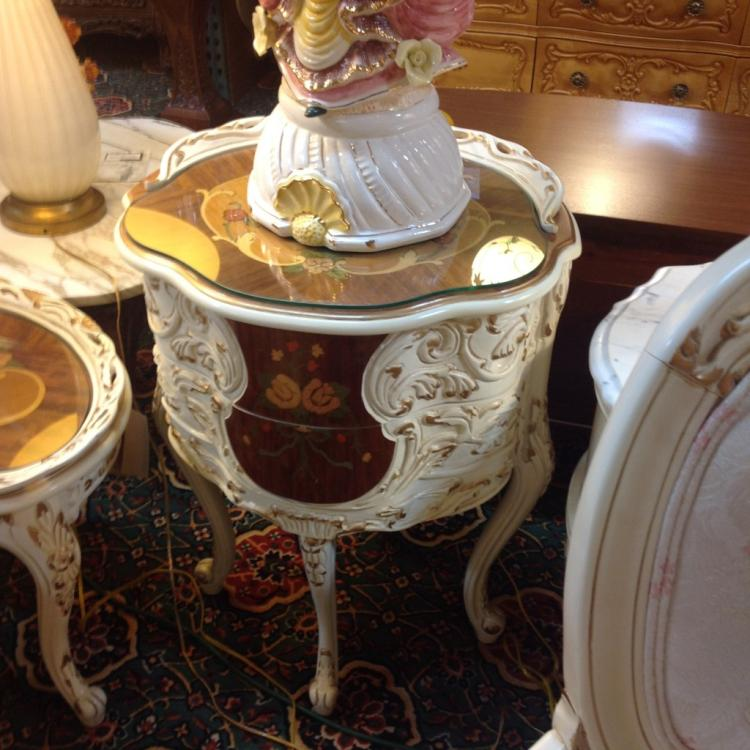Carved Wood French Provincial 3 Piece Set of Tables - Two Tone Finish