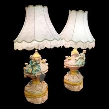 Pair of Genuine Capodimonte Lamps and Shades