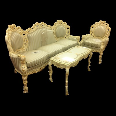 Carved Wood French Provincial/Italian Baroque 3 Piece Living Room Set
