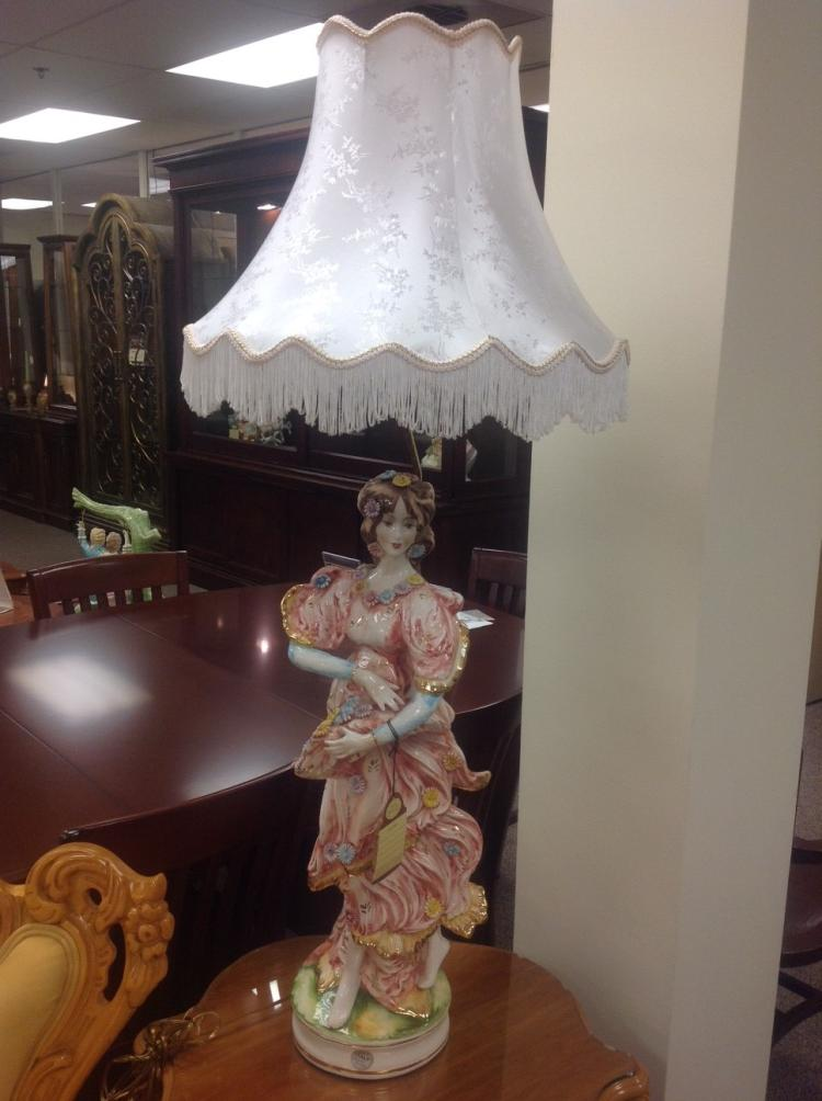 Genuine Capodimonte Girl Lamp with Shade