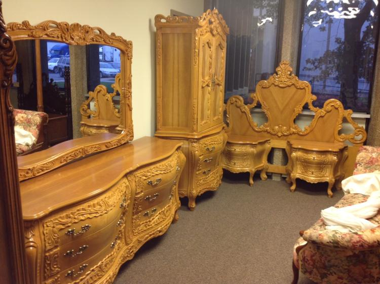 Carved Wood French Provincial Bedroom Set