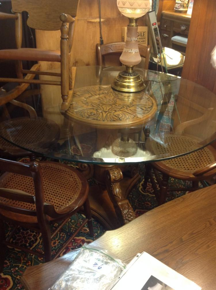 Carved Wood Pedestal Base with Glass Top