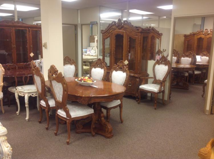 carved wood provincial dining room set