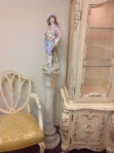 Antique Porcelain Figurine and Marble Pedestal
