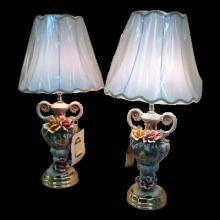 Pair of Capodimonte Lamps and Shade