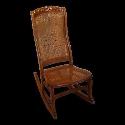 Antique Victorian Hand Caned Slipper Rocker