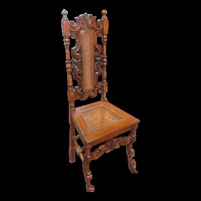 Antique Solid Carved Wood Jacobean Victorian Caned Chair