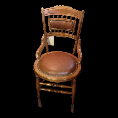 Antique Solid Carved Wood Victorian Leather Chair