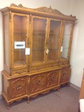 Solid Carved Maple Wood China Cabinet / Breakfront / Display Cabinet