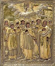 Scène de la Vierge entourée d'une assemblée de