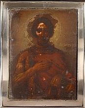 Saint Alexandre Nevsky Icône peinte sur métal,