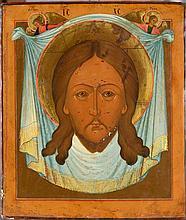 Tête de Christ sur fond du voile de Sainte