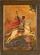 Saint Georges terrassant le dragon Tempera sur