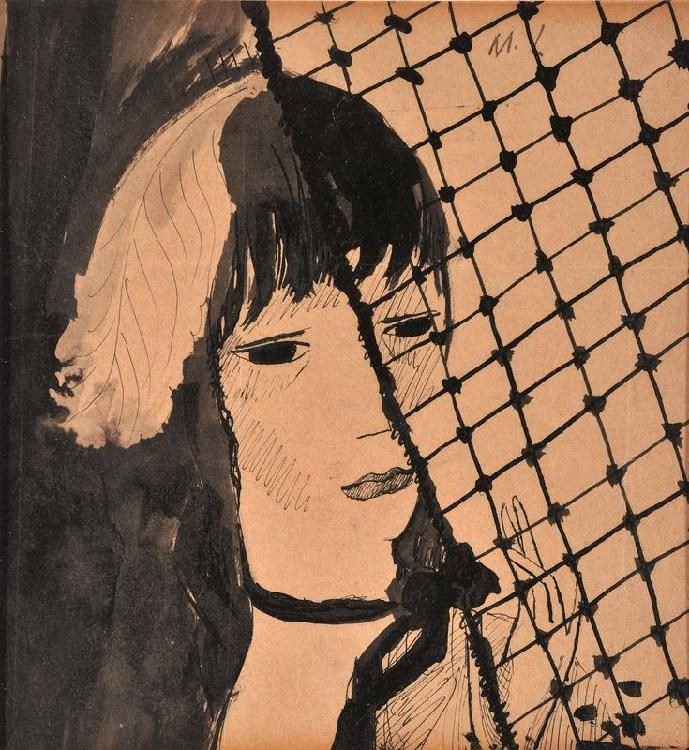 Marie LAURENCIN 1883 -1956 - Visage au filet