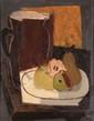 Jean SOUVERBIE 1891-1981 - Assiette de poires et pichet, vers 1925/1930
