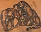 Paul JOUVE 1878 -1973 - Les deux lionnes