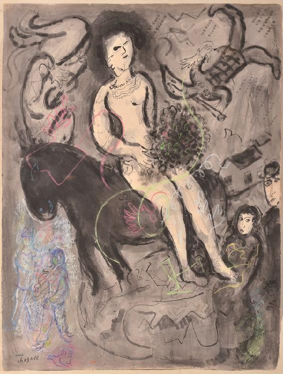 Marc CHAGALL 1887-1985 - L'écuyère au double profil, 1969