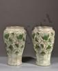 Auguste DELAHERCHE 1857-1940 - Paire de vases en grès émaillé