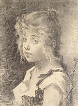 ALEXEI ALEXEIEVICH HARLAMOFF (1842-1925)  Portrait de jeune fille au chignon
