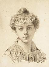 ALEXEI ALEXEIEVICH HARLAMOFF (1842-1925)  Portrait de jeune femme au chignon