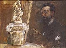 Joaquín SOROLLA y BASTIDA (1863-1923) Autoportrait dans l'atelier