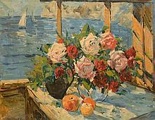 Constantin Alexeivitch KOROVIN (1861-1939) Vases de roses, fruits sur une table devant la mer