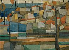 Evariste BOCCHI (1928-1966) Village au bord de mer