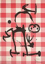 Juan MIRO (1893-1983) Chat sur toile cirée