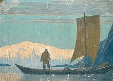 Fernand LANTOINE (1876/78-1955) Embarcation aux abords des Fjords