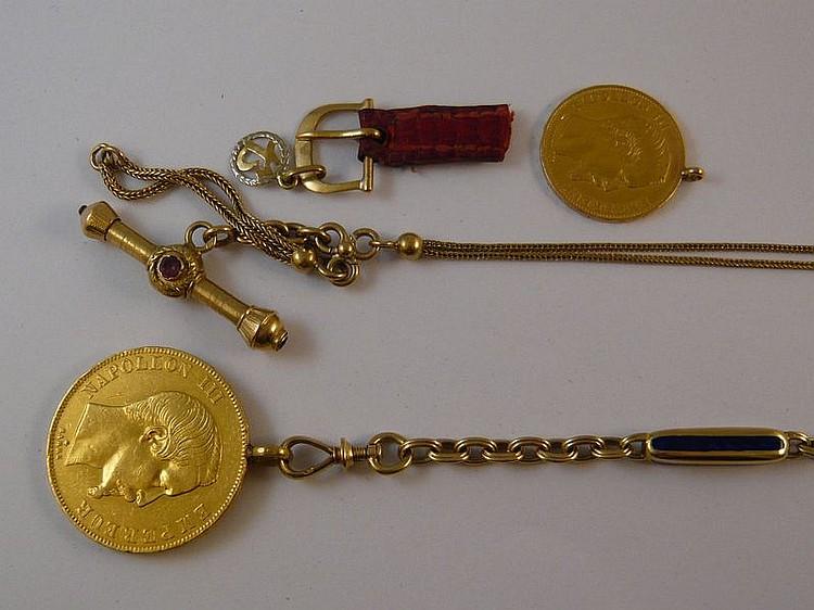 Lot comprenant une chaîne de montre en or jaune