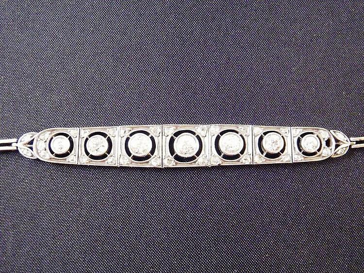 Bracelet Art Déco en platine