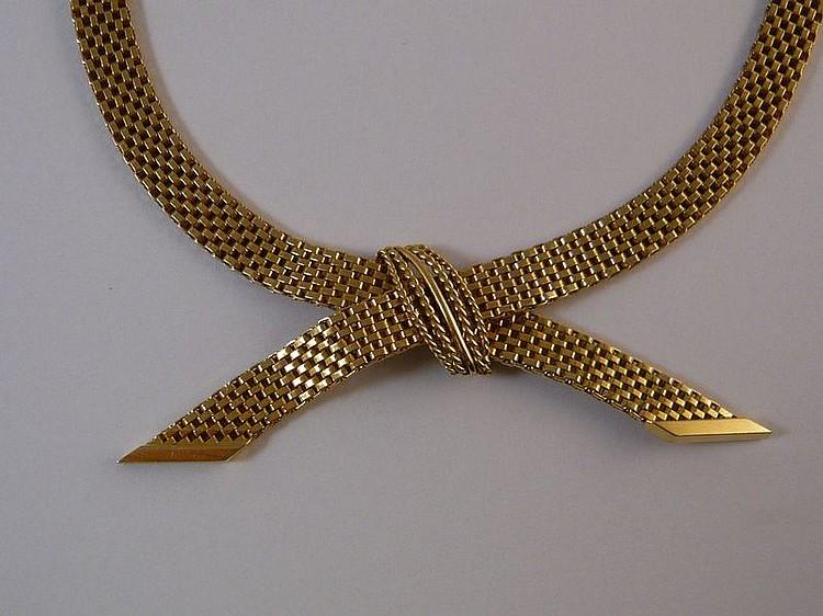 Collier ruban croisé en or jaune