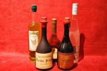 Ensemble de 5 bouteilles SPIRITUEUX DIVERS (Genepi, Armagnac, Poire, Prune, Cartagene)