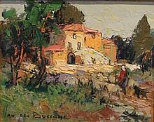 Fernand VAN DEN BUSSCHE (1892-1975)    Le mas    Huile sur isorel    22 x 27 cm