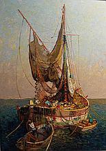 Fernand VAN DEN BUSSCHE (1892-1975)    Une tartane en Méditerannée    Huile sur isorel, signée en bas à droite    92 x 73 cm