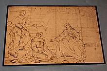 Attribué à Michel CORNEILLE II (1642- 1708) Le Christ avec Marthe et Marie Plume et encre brune 21 x 31 cm Dessin doublé, taches et pliures et petit trou en haut à droite