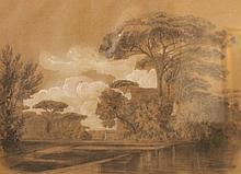 Attribué à Horace VERNET (1789-1863)    Vue d'Italie    Dessin et rehauts de gouache, signé et daté en bas à droite    30 x 40 cm