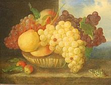 Ecole fin XIXème siècle    Huile sur panneau    Nature morte aux raisins    33 x 40 cm