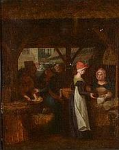 Ecole Hollandaise du XIXe siècle    Scène de marché    Huile sur toile     46,5 x 37 cm