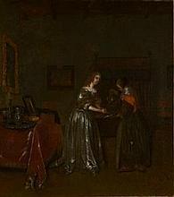 Ecole Hollandaise, atelier de Ter Borch, XVIIe siècle    Dame de qualité à sa toilette    Huile sur toile    78 x 69 cm