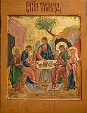 Icône     La Sainte-Trinité     Russie     Epoque début XIXème    Dim. : 32 x 24 cm.