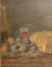 Ecole Française du XVIIIème siècle    Nature morte aux prunes    Huile sur toile