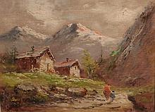Francesco MANCINI (1830-1905)    Vue de montagne    Huile sur carton, signée en bas à gauche    20 x 27 cm