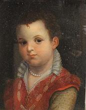 Ecole Française    Portrait d'enfant au collier de perles en costume Renaissance    Huile sur toile    35,5 x 27 cm