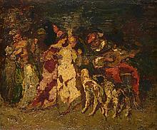 Adolphe MONTICELLI (1824-1886)    Troubadour, trois jeunes et deux femmes    Huile sur panneau, signée en bas à droite.     Dim. : 46 x 54 cm    Certificat de M. Emile Lacroix et Charles Garibaldi