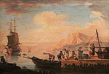 Ecole Française circa 1800    Embarquement sur un port    Huile sur toile    30 x 42 cm
