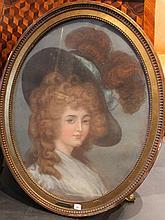 Ecole Française    Portrait de jeune femme au chapeau.     Huile sur toile    65 x 51 cm